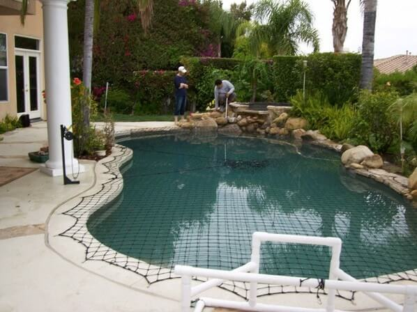 Pool Rocks and Mesh Cover